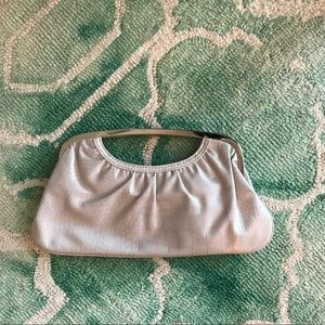 EUC Cream-colored Snakeskin & Silver Clutch